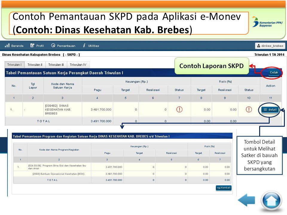 Contoh Pemantauan SKPD pada Aplikasi e-Monev (Contoh: Dinas Kesehatan Kab. Brebes) Contoh Laporan SKPD Tombol Detail untuk Melihat Satker di bawah SKP
