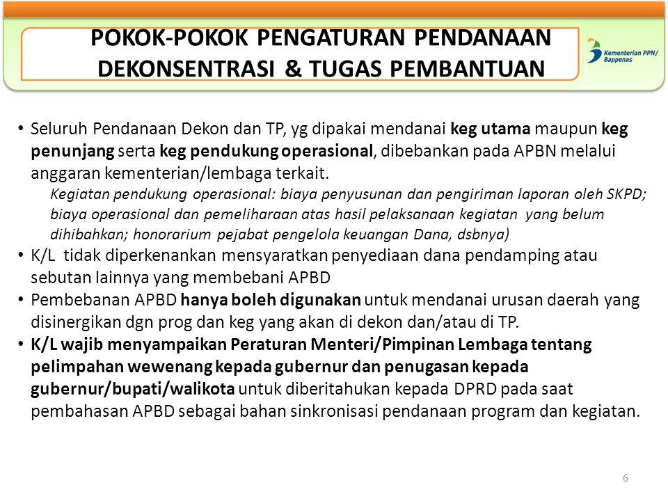 6 Seluruh Pendanaan Dekon dan TP, yg dipakai mendanai keg utama maupun keg penunjang serta keg pendukung operasional, dibebankan pada APBN melalui ang