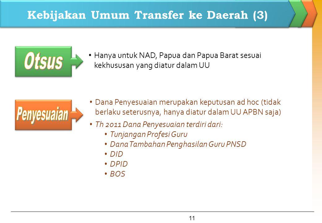 Kebijakan Umum Transfer ke Daerah (3) Dana Penyesuaian merupakan keputusan ad hoc (tidak berlaku seterusnya, hanya diatur dalam UU APBN saja) Th 2011