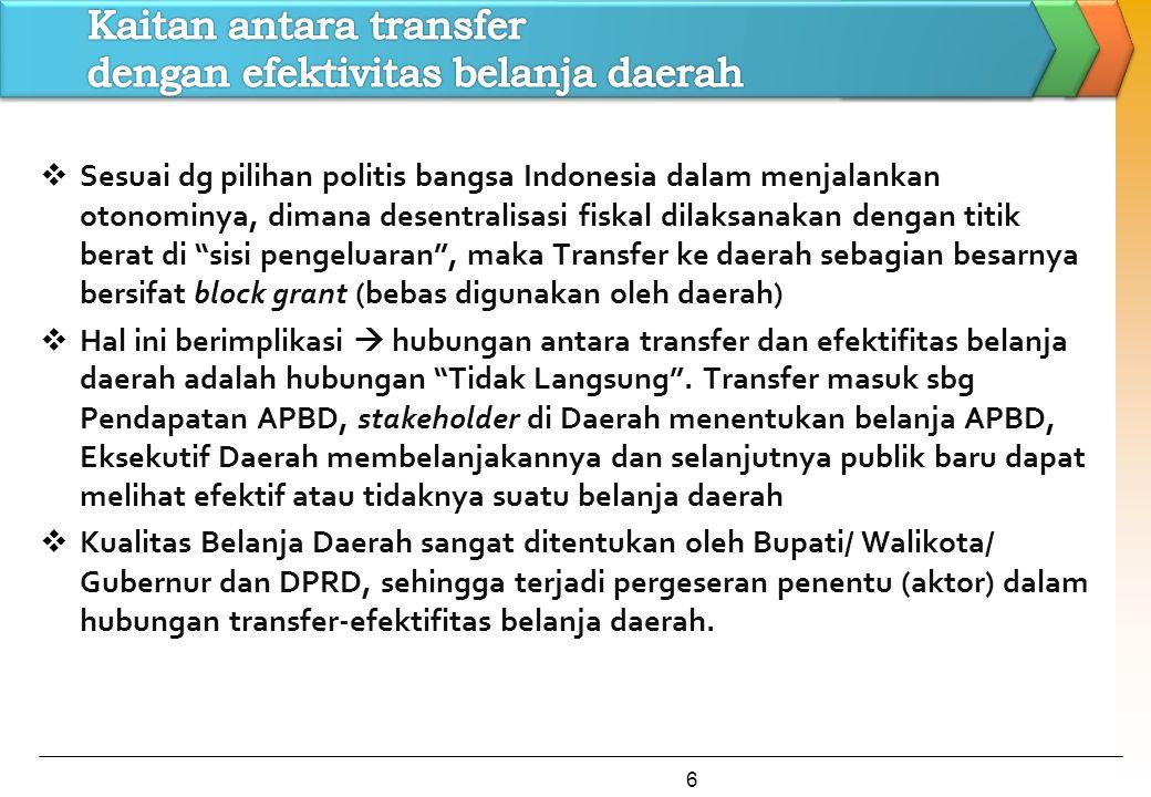 """ Sesuai dg pilihan politis bangsa Indonesia dalam menjalankan otonominya, dimana desentralisasi fiskal dilaksanakan dengan titik berat di """"sisi penge"""