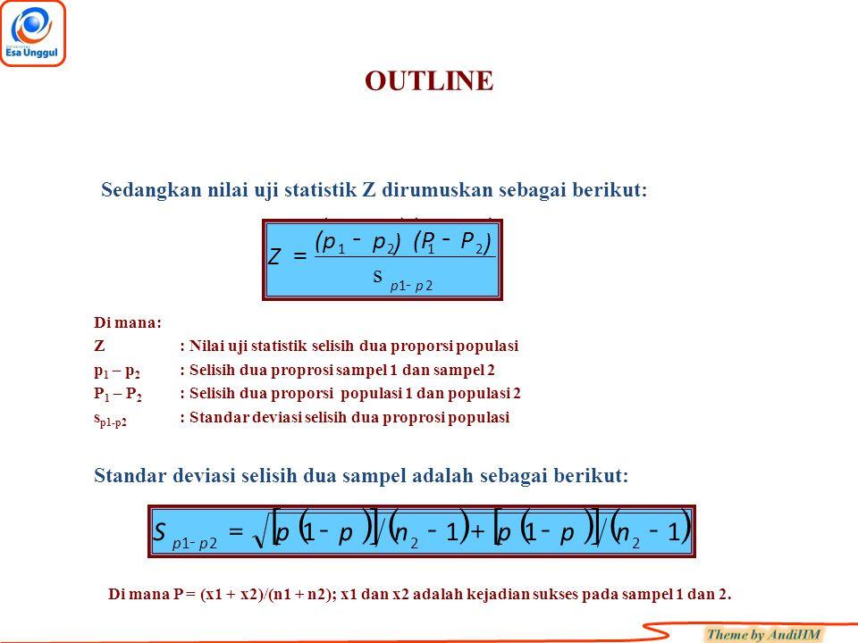 OUTLINE Sedangkan nilai uji statistik Z dirumuskan sebagai berikut: ()() P(Pp(p -- Di mana: Z: Nilai uji statistik selisih dua proporsi populasi p 1 –