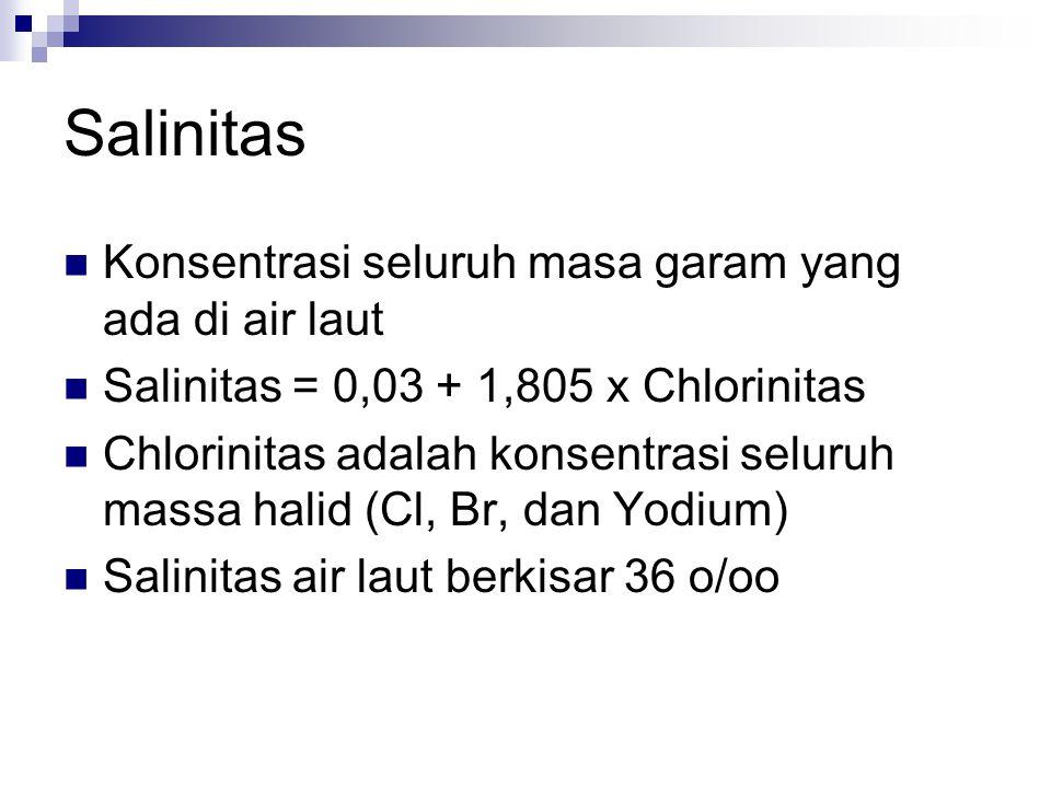 Salinitas Konsentrasi seluruh masa garam yang ada di air laut Salinitas = 0,03 + 1,805 x Chlorinitas Chlorinitas adalah konsentrasi seluruh massa hali