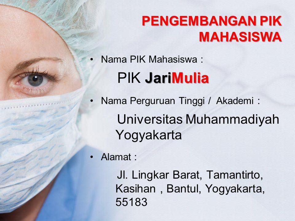 PENGEMBANGAN PIK MAHASISWA Nama PIK Mahasiswa : JariMulia PIK JariMulia Nama Perguruan Tinggi / Akademi : Universitas Muhammadiyah Yogyakarta Alamat :
