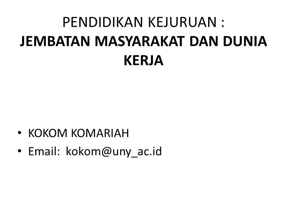 PENDIDIKAN KEJURUAN : JEMBATAN MASYARAKAT DAN DUNIA KERJA KOKOM KOMARIAH Email: kokom@uny_ac.id