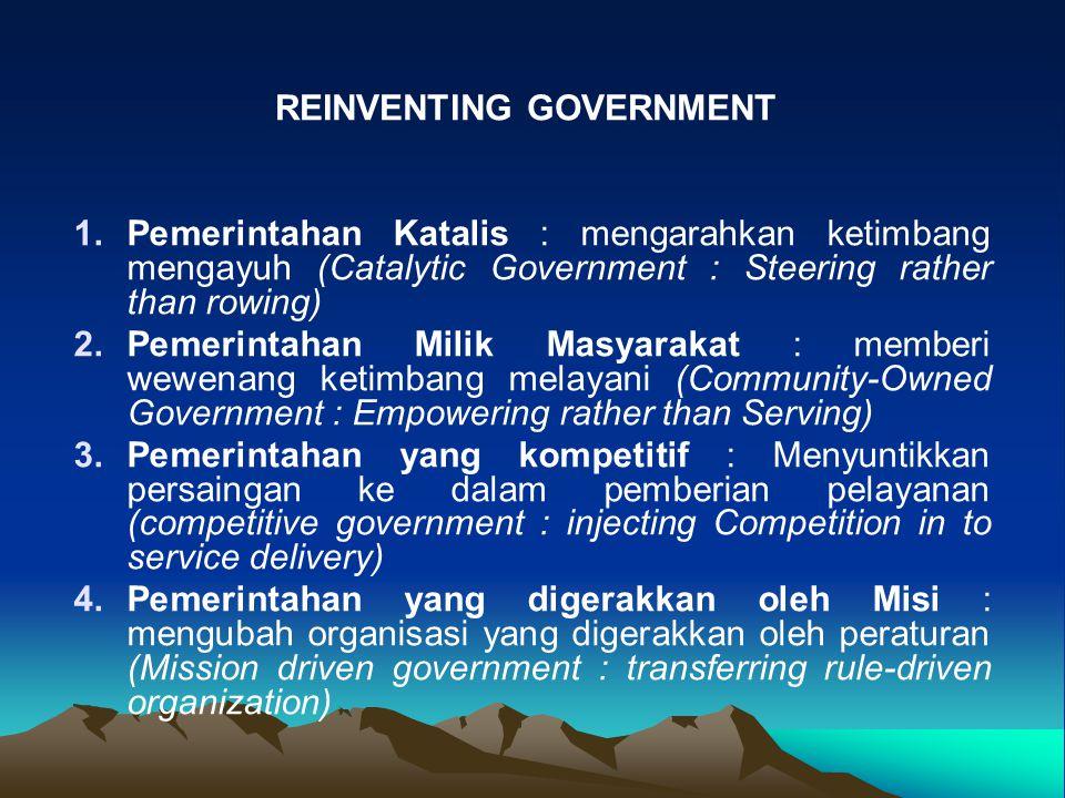 1. 1.Pemerintahan Katalis : mengarahkan ketimbang mengayuh (Catalytic Government : Steering rather than rowing) 2. 2.Pemerintahan Milik Masyarakat : m