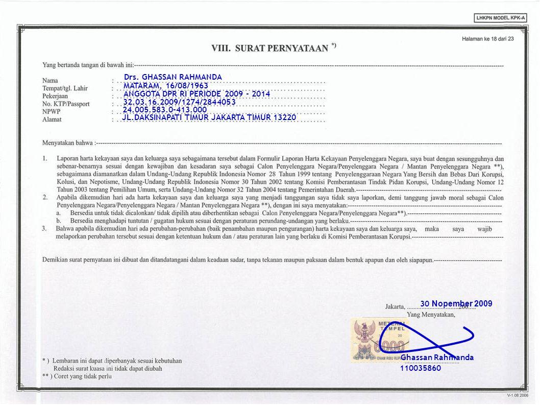 Ghassan Rahmanda 110035860 Drs. GHASSAN RAHMANDA 32.03.16.2009/1274/2844053 24.005.583.0-413.000 30 Nopember 2009 MATARAM, 16/08/1963 JL.DAKSINAPATI T
