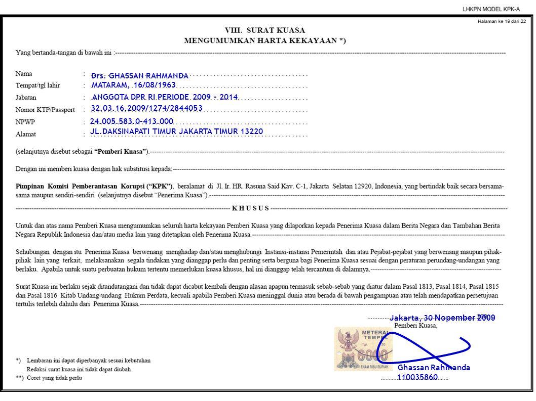 Ghassan Rahmanda 110035860 Drs. GHASSAN RAHMANDA MATARAM, 16/08/1963 24.005.583.0-413.000 32.03.16.2009/1274/2844053 Jakarta, 30 Nopember 2009 JL.DAKS