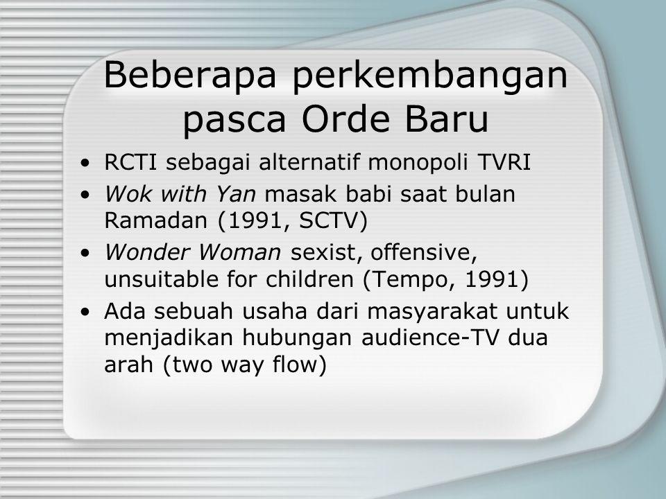Beberapa perkembangan pasca Orde Baru RCTI sebagai alternatif monopoli TVRI Wok with Yan masak babi saat bulan Ramadan (1991, SCTV) Wonder Woman sexis