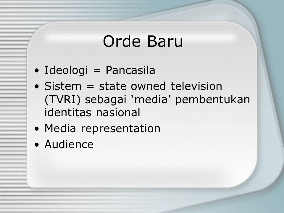Orde Baru Ideologi = Pancasila Sistem = state owned television (TVRI) sebagai 'media' pembentukan identitas nasional Media representation Audience