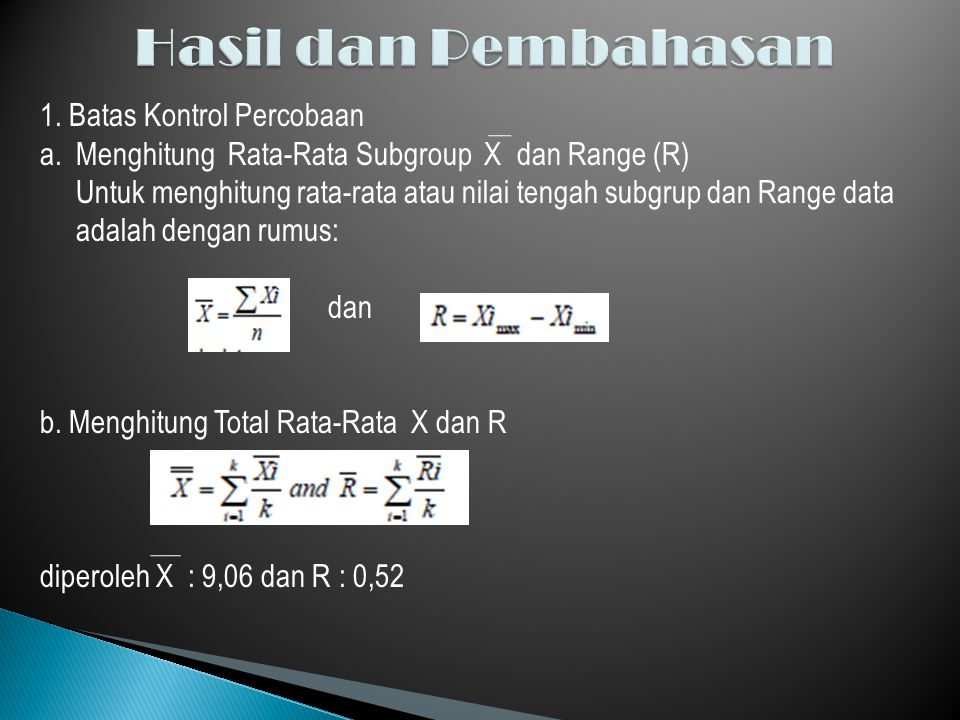 1. Batas Kontrol Percobaan a.Menghitung Rata-Rata Subgroup X dan Range (R) Untuk menghitung rata-rata atau nilai tengah subgrup dan Range data adalah