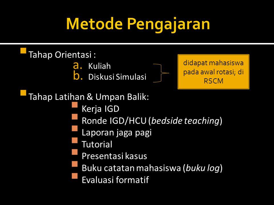  Tahap Orientasi : a. Kuliah b. Diskusi Simulasi  Tahap Latihan & Umpan Balik:  Kerja IGD  Ronde IGD/HCU (bedside teaching)  Laporan jaga pagi 