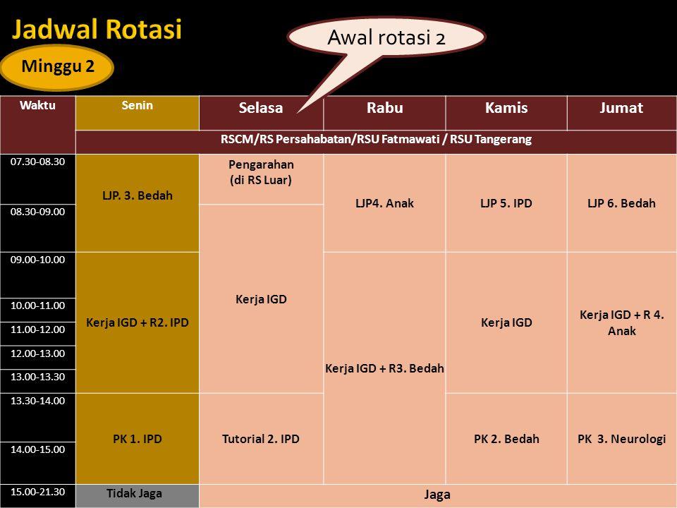 WaktuSenin SelasaRabuKamisJumat RSCM/RS Persahabatan/RSU Fatmawati / RSU Tangerang 07.30-08.30 LJP. 3. Bedah Pengarahan (di RS Luar) LJP4. AnakLJP 5.