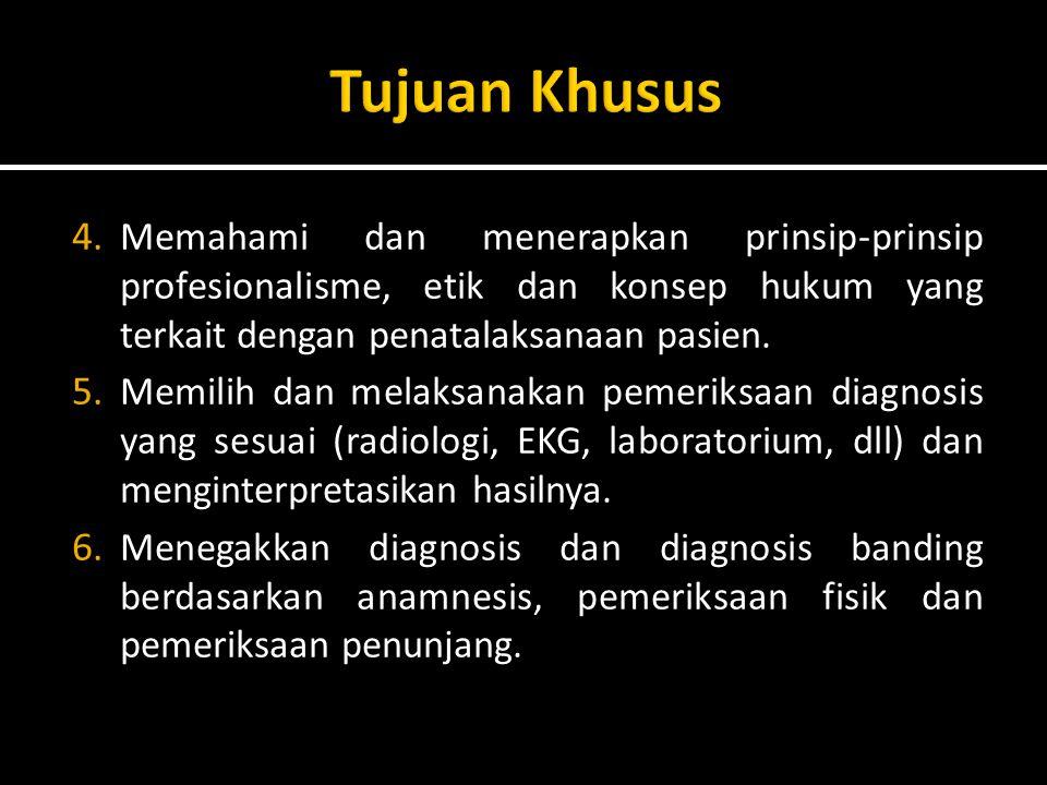 4. Memahami dan menerapkan prinsip-prinsip profesionalisme, etik dan konsep hukum yang terkait dengan penatalaksanaan pasien. 5. Memilih dan melaksana