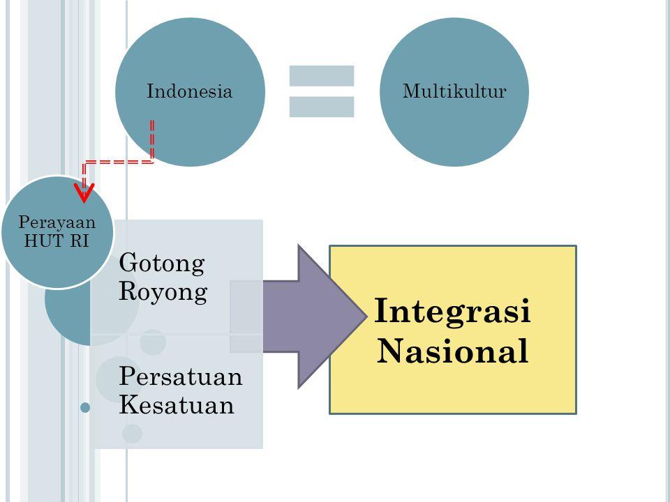 Integrasi Nasional Gotong Royong Persatuan Kesatuan Perayaan HUT RI IndonesiaMultikultur