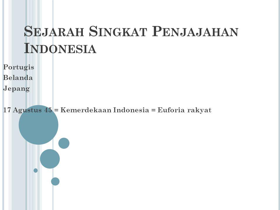 S EJARAH S INGKAT P ENJAJAHAN I NDONESIA Portugis Belanda Jepang 17 Agustus 45 = Kemerdekaan Indonesia = Euforia rakyat
