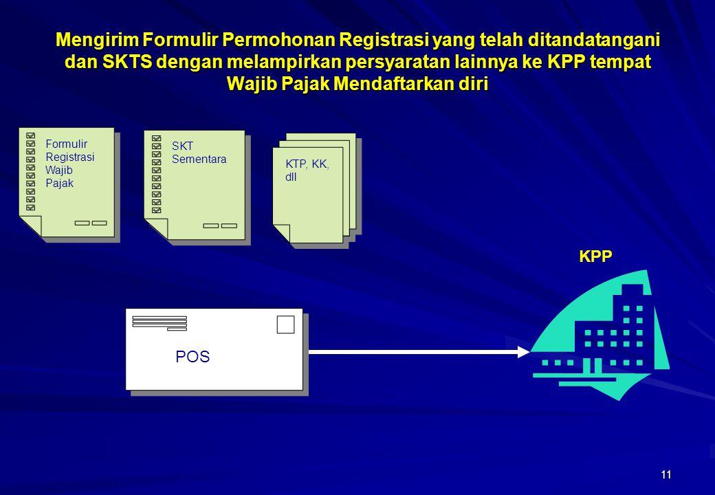 11 Mengirim Formulir Permohonan Registrasi yang telah ditandatangani dan SKTS dengan melampirkan persyaratan lainnya ke KPP tempat Wajib Pajak Mendaft