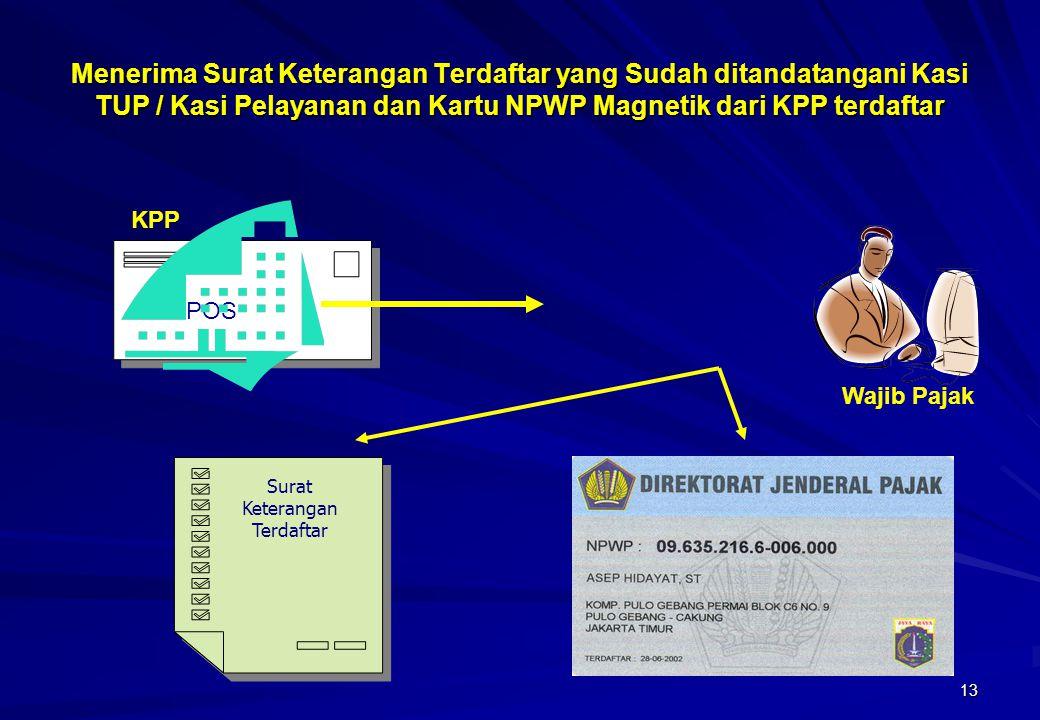13 POS Menerima Surat Keterangan Terdaftar yang Sudah ditandatangani Kasi TUP / Kasi Pelayanan dan Kartu NPWP Magnetik dari KPP terdaftar Surat Ketera