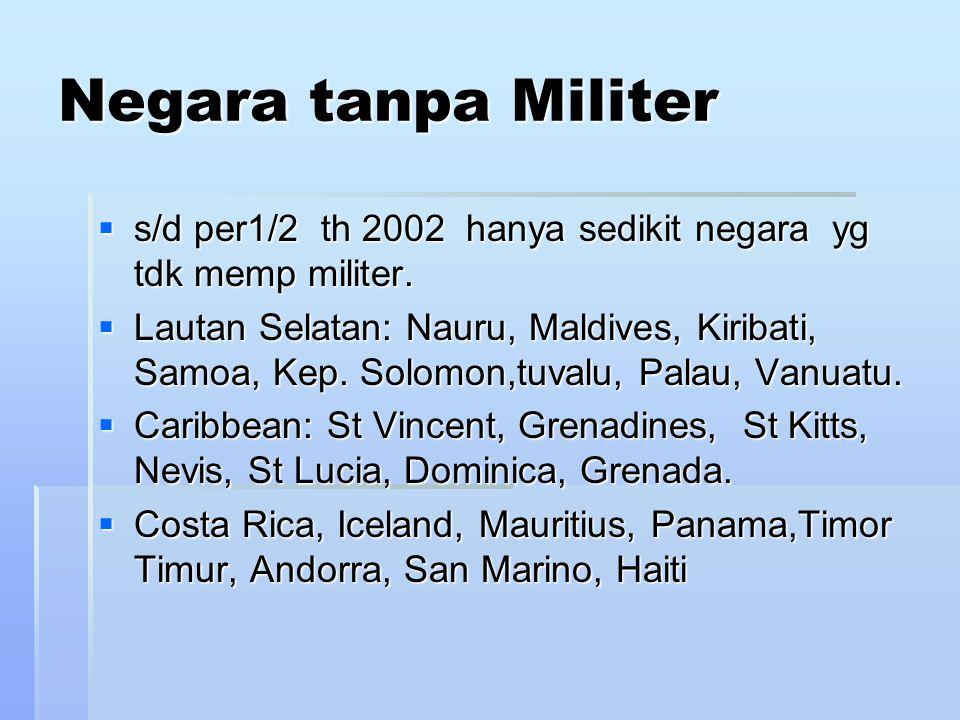 Negara tanpa Militer  s/d per1/2 th 2002 hanya sedikit negara yg tdk memp militer.