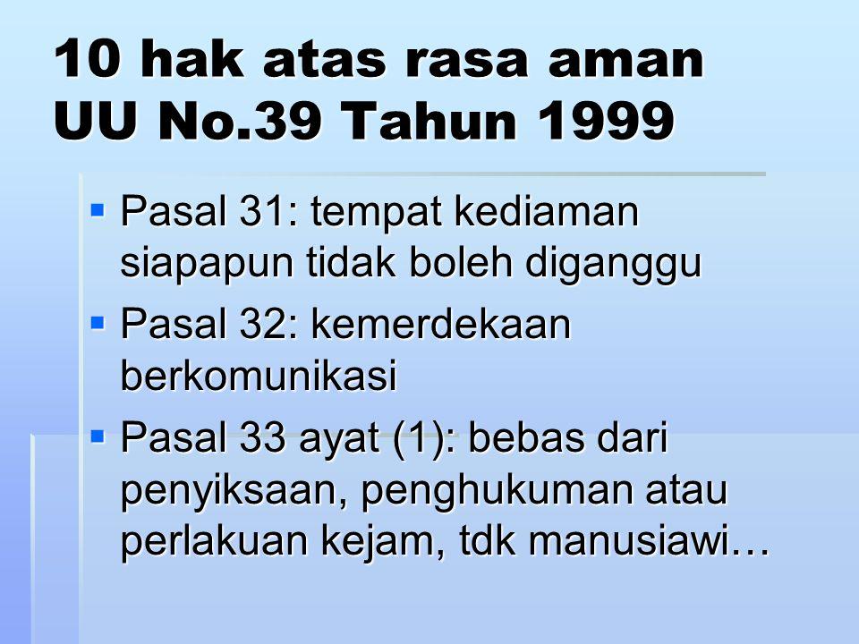 bebas dr penyiksaan, penghukuman atau perlakuan kejam, tdk manusiawi…  UU No.5 Tahun 1998 penyempitan penganiayaan untuk memperoleh informasi/pengakuan  penyempitan penganiayaan untuk memperoleh informasi/pengakuan  terkait tindakan polisi terkait tindakan polisi
