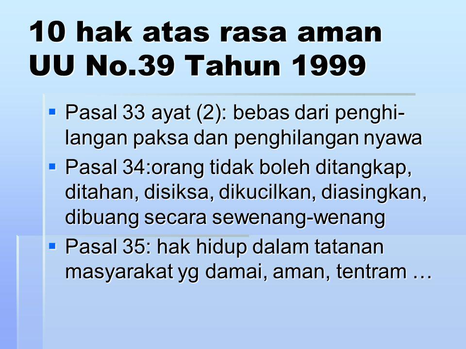 bebas dr penghilangan paksa dan penghilangan nyawa  DUHAN Pasal 5 tdk eksplisit  ICCPR Pasal 7 idem ke2nya interpretasi perb tsb keji, tdk manusiawi ke2nya interpretasi perb tsb keji, tdk manusiawi  UUD 1945 Pasal 28G ayat (2) idem perbuatan tsb merendahkan derajat kemanusiaan perbuatan tsb merendahkan derajat kemanusiaan  UU No.39 Tahun 1999 Pasal 33 ayat (2)