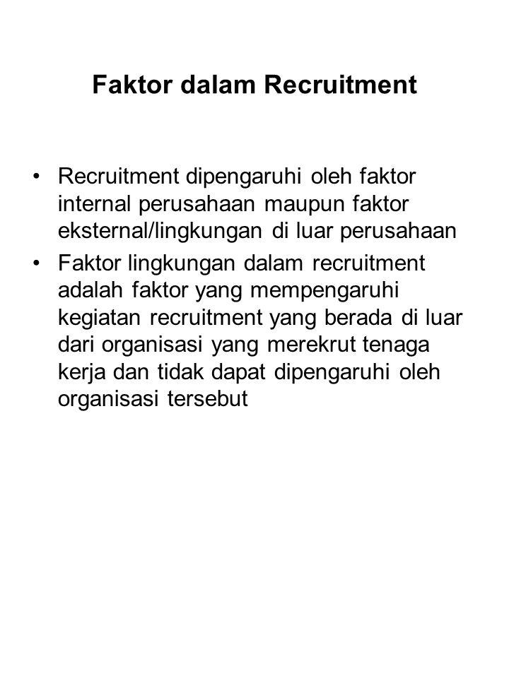 Faktor dalam Recruitment Recruitment dipengaruhi oleh faktor internal perusahaan maupun faktor eksternal/lingkungan di luar perusahaan Faktor lingkungan dalam recruitment adalah faktor yang mempengaruhi kegiatan recruitment yang berada di luar dari organisasi yang merekrut tenaga kerja dan tidak dapat dipengaruhi oleh organisasi tersebut