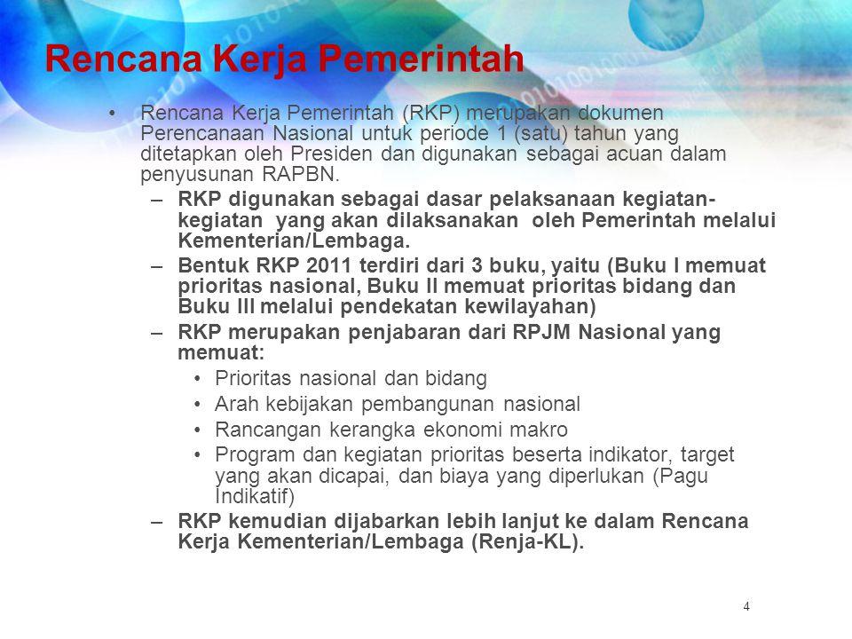 Rencana Kerja Pemerintah Rencana Kerja Pemerintah (RKP) merupakan dokumen Perencanaan Nasional untuk periode 1 (satu) tahun yang ditetapkan oleh Presi