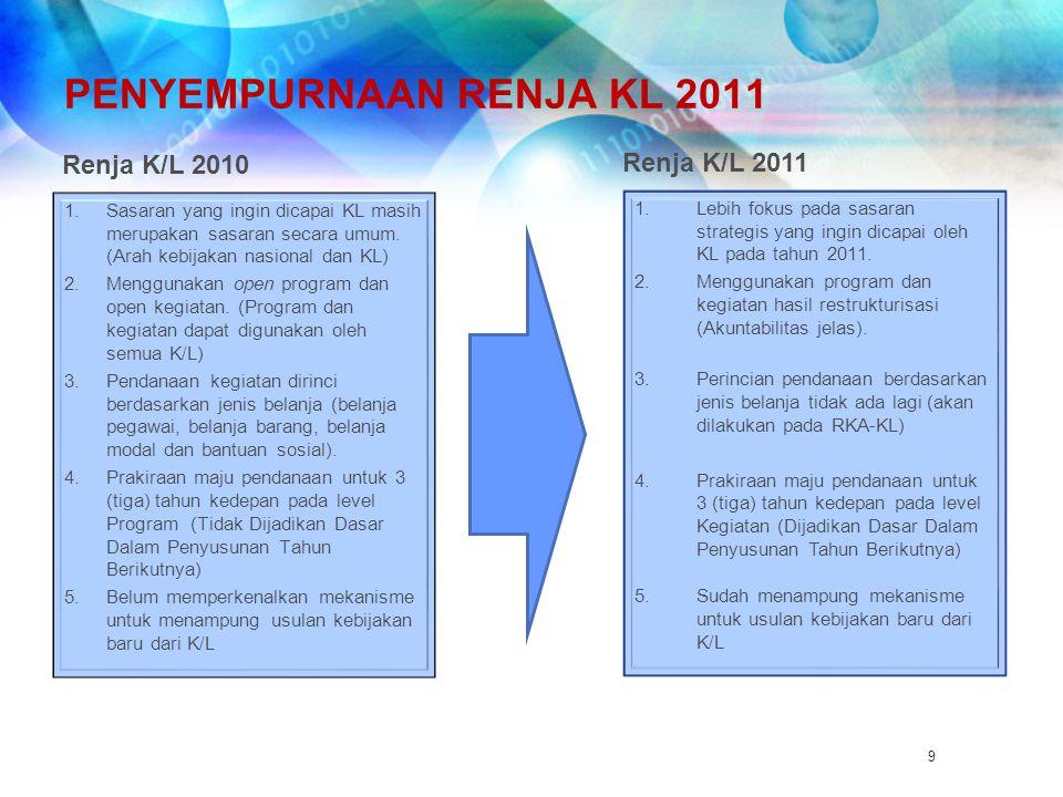 9 PENYEMPURNAAN RENJA KL 2011 1.Sasaran yang ingin dicapai KL masih merupakan sasaran secara umum. (Arah kebijakan nasional dan KL) 2.Menggunakan open