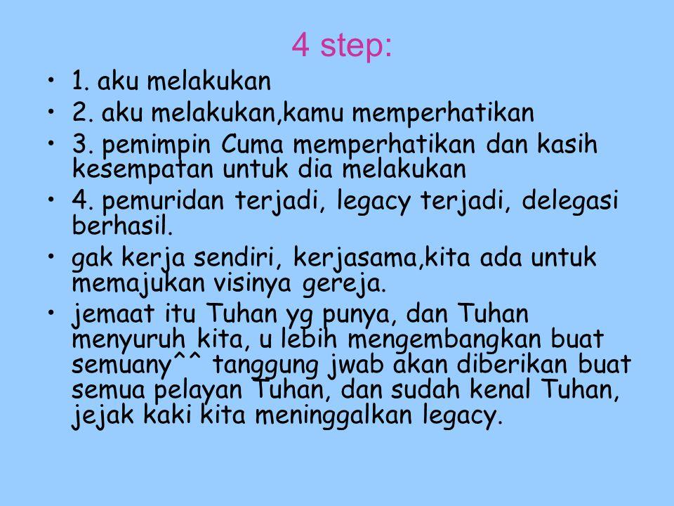 4 step: 1. aku melakukan 2. aku melakukan,kamu memperhatikan 3. pemimpin Cuma memperhatikan dan kasih kesempatan untuk dia melakukan 4. pemuridan terj