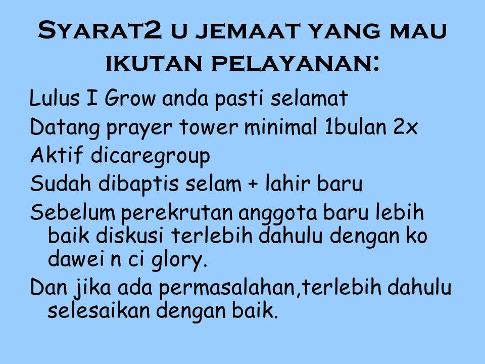 Syarat2 u jemaat yang mau ikutan pelayanan: Lulus I Grow anda pasti selamat Datang prayer tower minimal 1bulan 2x Aktif dicaregroup Sudah dibaptis sel