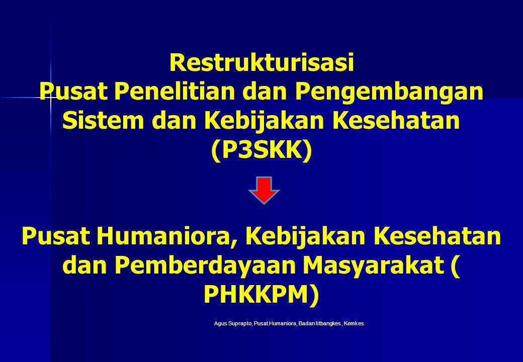 Agus Suprapto, Pusat Humaniora, Badan litbangkes, Kemkes Restrukturisasi Pusat Penelitian dan Pengembangan Sistem dan Kebijakan Kesehatan (P3SKK) Pusa