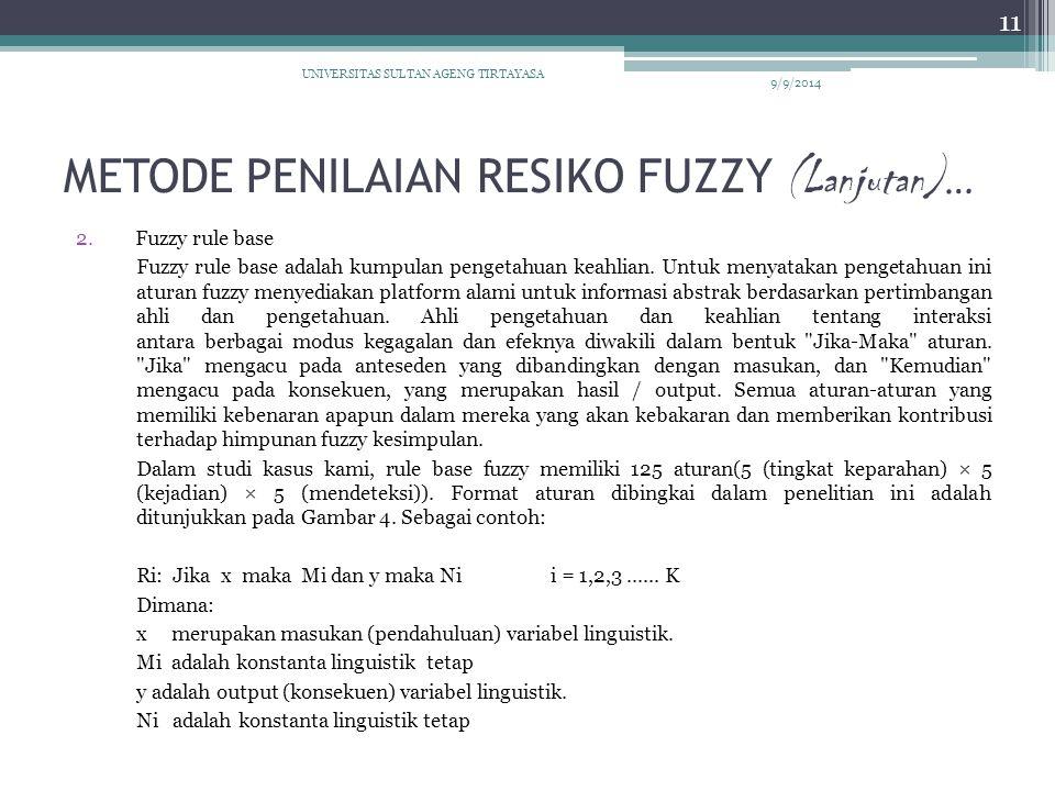 METODE PENILAIAN RESIKO FUZZY (Lanjutan) … 2.Fuzzy rule base Fuzzy rule base adalah kumpulan pengetahuan keahlian. Untuk menyatakan pengetahuan ini at
