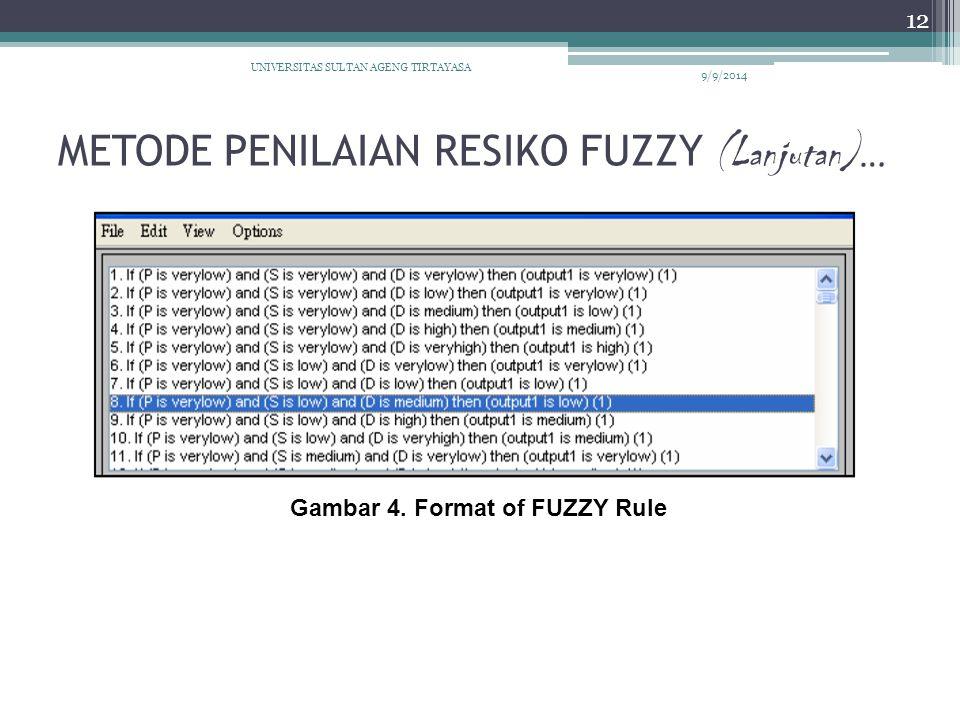 METODE PENILAIAN RESIKO FUZZY (Lanjutan) … 9/9/2014 UNIVERSITAS SULTAN AGENG TIRTAYASA 12 Gambar 4. Format of FUZZY Rule
