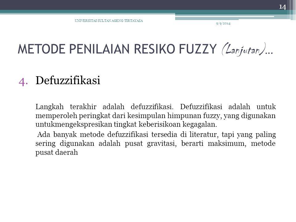 METODE PENILAIAN RESIKO FUZZY (Lanjutan) … 4.Defuzzifikasi Langkah terakhir adalah defuzzifikasi. Defuzzifikasi adalah untuk memperoleh peringkat dari