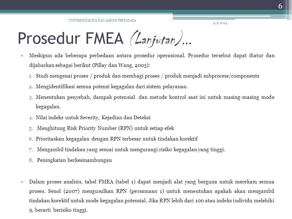 Prosedur FMEA (Lanjutan) … Meskipun ada beberapa perbedaan antara prosedur operasional. Prosedur tersebut dapat diatur dan dijabarkan sebagai berikut