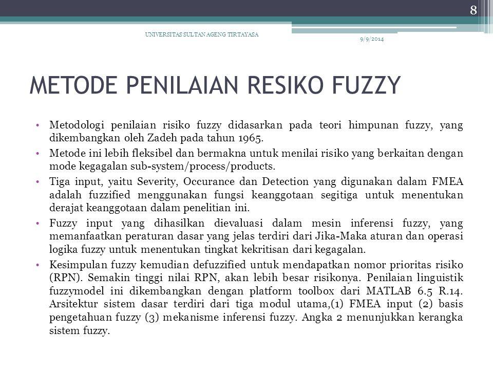 METODE PENILAIAN RESIKO FUZZY Metodologi penilaian risiko fuzzy didasarkan pada teori himpunan fuzzy, yang dikembangkan oleh Zadeh pada tahun 1965. Me