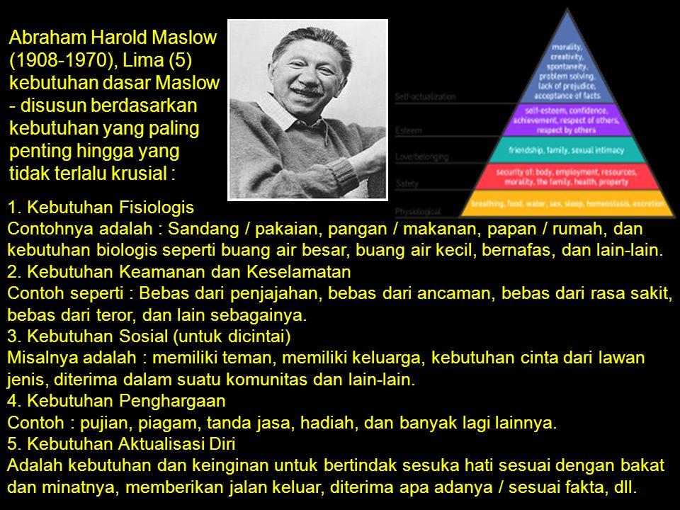 Abraham Harold Maslow (1908-1970), Lima (5) kebutuhan dasar Maslow - disusun berdasarkan kebutuhan yang paling penting hingga yang tidak terlalu krusi