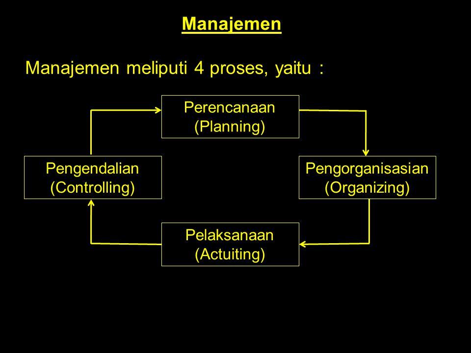 Manajemen Manajemen meliputi 4 proses, yaitu : Perencanaan (Planning) Pengorganisasian (Organizing) Pengendalian (Controlling) Pelaksanaan (Actuiting)