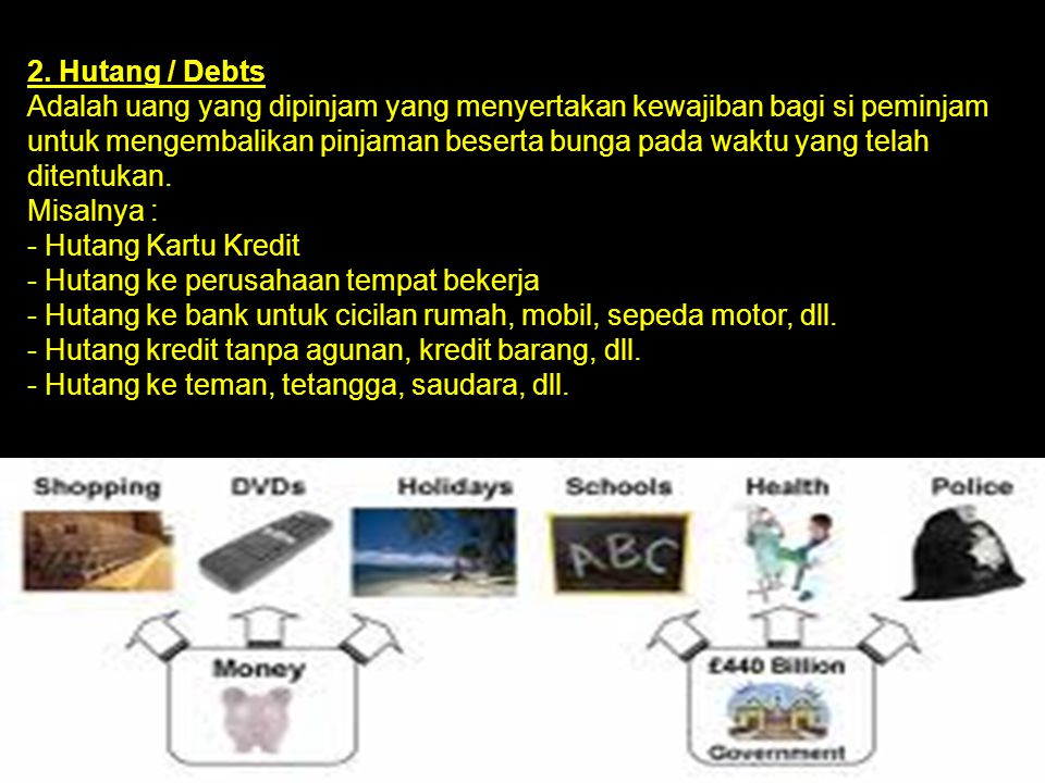 2. Hutang / Debts Adalah uang yang dipinjam yang menyertakan kewajiban bagi si peminjam untuk mengembalikan pinjaman beserta bunga pada waktu yang tel