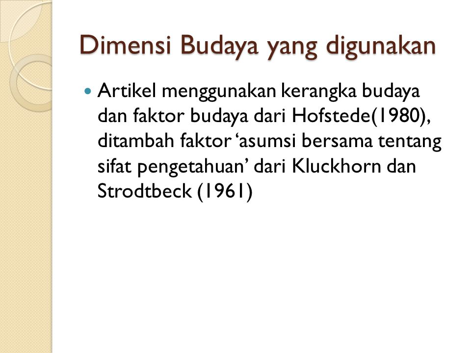 Model Efek Budaya terhadap Pelatihan Cultural Factors: Dominated Values Beliefs, Assumptions Prevalent Social Norms Trainees (Pre-training): Knowledge Skills Abilities Training Process: Training contents & methods Selection of trainers Learning styles Trainees (Post-training): Knowledge Skills Abilities Training Outcomes: Individual performance Team Performance Organizational performance Feedback