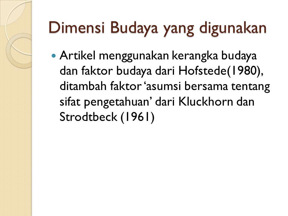 Dimensi Budaya yang digunakan Artikel menggunakan kerangka budaya dan faktor budaya dari Hofstede(1980), ditambah faktor 'asumsi bersama tentang sifat pengetahuan' dari Kluckhorn dan Strodtbeck (1961)