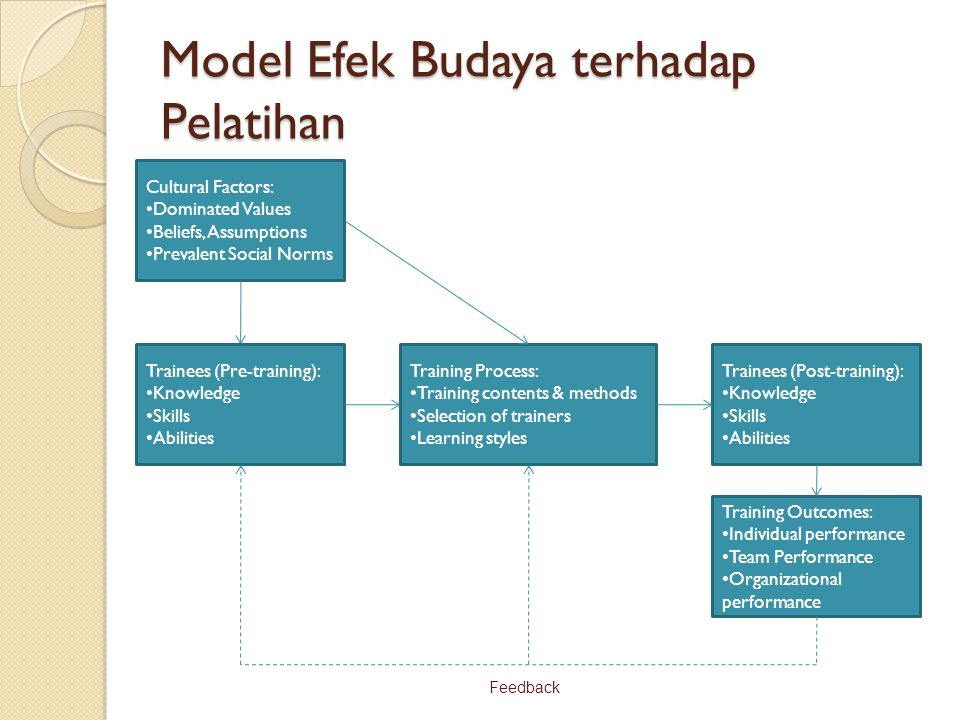 Model Efek Budaya terhadap Pelatihan Cultural Factors: Dominated Values Beliefs, Assumptions Prevalent Social Norms Trainees (Pre-training): Knowledge