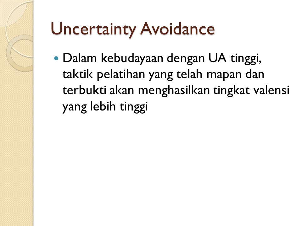 Uncertainty Avoidance Dalam kebudayaan dengan UA tinggi, taktik pelatihan yang telah mapan dan terbukti akan menghasilkan tingkat valensi yang lebih tinggi