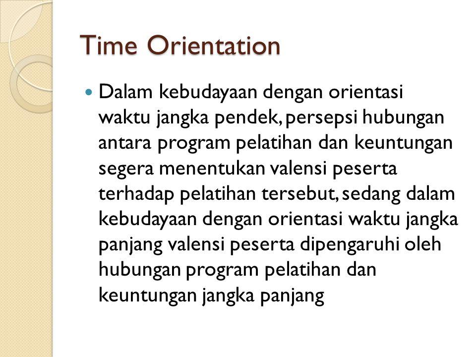 Time Orientation Dalam kebudayaan dengan orientasi waktu jangka pendek, persepsi hubungan antara program pelatihan dan keuntungan segera menentukan valensi peserta terhadap pelatihan tersebut, sedang dalam kebudayaan dengan orientasi waktu jangka panjang valensi peserta dipengaruhi oleh hubungan program pelatihan dan keuntungan jangka panjang