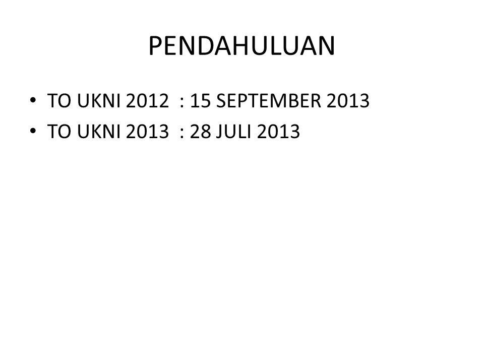 PENDAHULUAN TO UKNI 2012 : 15 SEPTEMBER 2013 TO UKNI 2013 : 28 JULI 2013