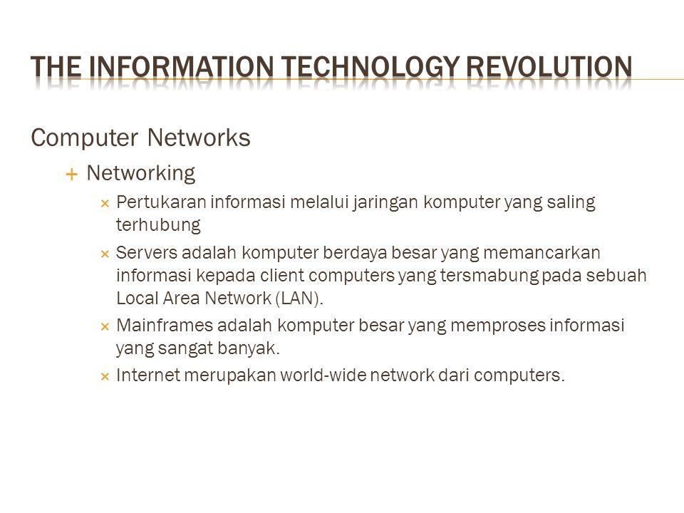 Computer Networks  Networking  Pertukaran informasi melalui jaringan komputer yang saling terhubung  Servers adalah komputer berdaya besar yang memancarkan informasi kepada client computers yang tersmabung pada sebuah Local Area Network (LAN).