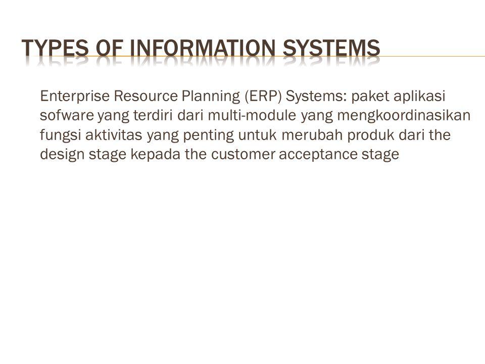 Enterprise Resource Planning (ERP) Systems: paket aplikasi sofware yang terdiri dari multi-module yang mengkoordinasikan fungsi aktivitas yang penting untuk merubah produk dari the design stage kepada the customer acceptance stage