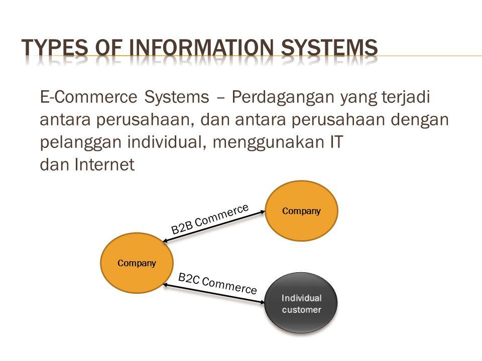 E-Commerce Systems – Perdagangan yang terjadi antara perusahaan, dan antara perusahaan dengan pelanggan individual, menggunakan IT dan Internet Company B2B Commerce B2C Commerce
