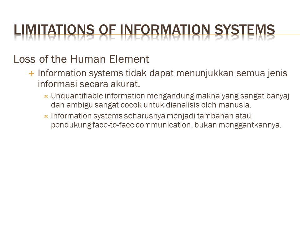 Loss of the Human Element  Information systems tidak dapat menunjukkan semua jenis informasi secara akurat.