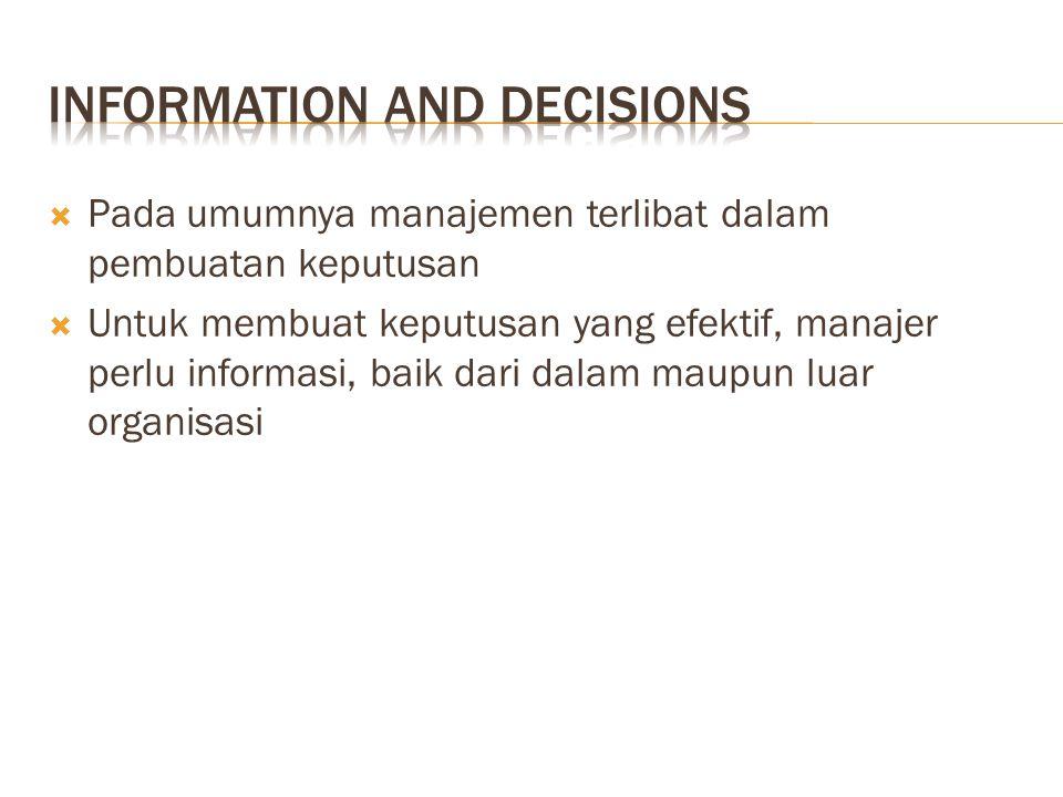  Pada umumnya manajemen terlibat dalam pembuatan keputusan  Untuk membuat keputusan yang efektif, manajer perlu informasi, baik dari dalam maupun luar organisasi