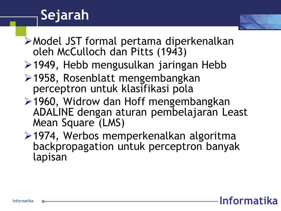 Informatika Sejarah  Model JST formal pertama diperkenalkan oleh McCulloch dan Pitts (1943)  1949, Hebb mengusulkan jaringan Hebb  1958, Rosenblatt